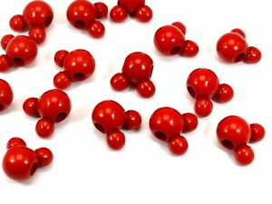 50pcs Red Color Acrylic Mouse Face Charm Beads 16mm With Large Hole 4mm Crafts