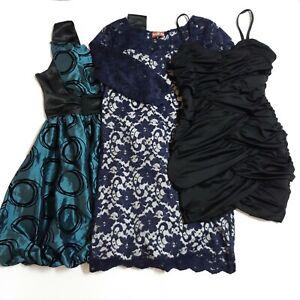 3 Evening/Party/Formal Dresses Bundle Size 12 Pencil Shift Black Blue Green VGC