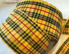 "Vintage Plaid 1960s Ribbon Rayon 1.5"" Yellow Tartan 1yd Made in France"