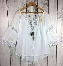 Italia Moda - Ibiza Bluse Tunika Häkelspitze Hippie Style weiß Gr. 42 44 L
