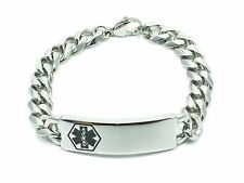 Medical Alert ID Bracelet Stainless Steel Curb Chain Engravable Solid
