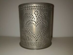 """Tin Punch Design Metal Candle Holder Fits Large and Medium Yankee Candles 5 x 4"""""""