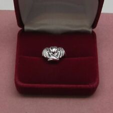 Sterling Silver Angel Wings holding a Heart size 8 ring 925 Sterling    b1