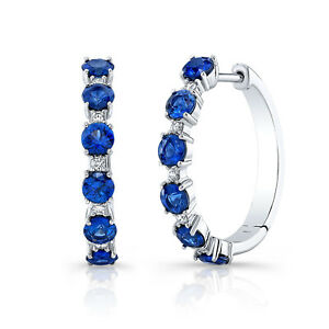 Blue Sapphire Diamond Hoop Earrings 14K White Gold Round Cut Natural Certified