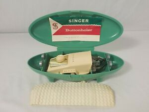 Vintage 1960's Singer Buttonholer In Green Case Featherweight With Attachments