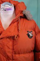 Orig Chevignon Daunen Jacke vintage orange Fell Kragen TOP