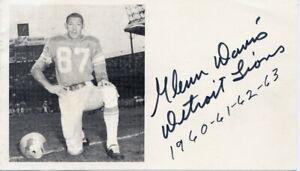 1960s Detroit Lions Football Player & Olympic Hurdler GLENN DAVIS Signed Card