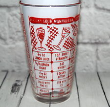 New ListingVintage Glass Drink Mixer w Recipes Cocktails Red Print Measuring Mcm Barware