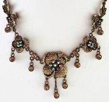 £75 Gold Peach Pave Flower Charm Pendant Necklace Swarovski Elements Crystal