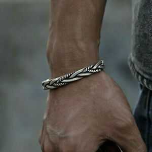 New Men Plated Silver Thai Handmade Vintage Open Bangle Twisted Cuff Bracelet US