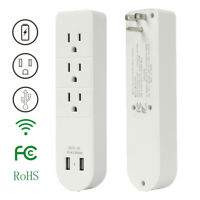 3 Outlet Wall Mount Strip Surge Protector w/ 2 USB Charging Ports Socket US Plug