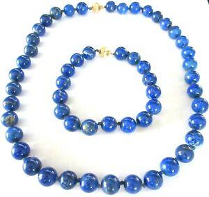 14K Gold Genuine Lapis Beaded Necklace Bracelet Set