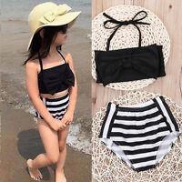 Toddler Kids Girls 2pcs Bikini Set Swimwear Striped Swimsuit Bathing Beachwear