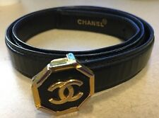 Chanel Black Leather Octagon Two Tone Ladies Womens Belt Vintage 24/28 Authentic