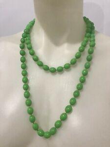 Vintage Retro Mod GoGo Pinup GREEN PLASTIC Beaded Necklace