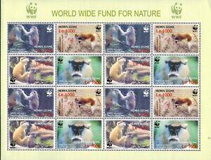 MODERN GEMS - Sierra Leone - WWF Patas Monkeys - Sheet of 16 - MNH