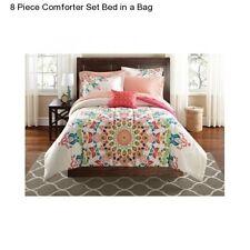 Girl's Peach Pink White Medallion Full Size Comforter Set Bedding Sheets Shams