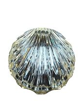 Vintage Scallop/Shell shaped Heavy Crystal Glass Gold Trim Hinged Trinket/ Box