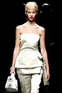 PRADA S/S 2013 RUNWAY Light Green Silk Satin Basque Apron Skirt Belt IT40/US6