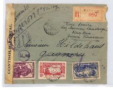 BM55 1942 FRANCE COLS WW2 GUINEA *Kankan* Registered Censor Airmail Cover PTS