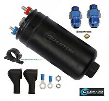 QUANTUM 380LPH Inline External Fuel Pump + AN In/Out Fitting + Mounting Bracket