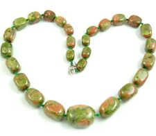 Natural Unakite beads pendant Gemstone Handmade Making Necklace Jewellery