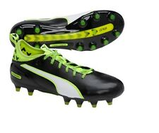 Puma evoTouch 1 FG Black Leather Youth Boys Girls Kids Soccer Cleats 5C