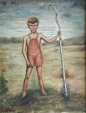 """Early 20th Cent. Folk Art Boy Painting MYSTIC CONN. Very """"CHILDREN OF THE CORN""""!"""
