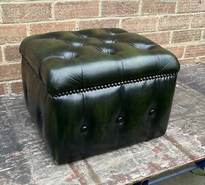 Green Leather Chesterfield footstool Cube Pouffe UK DELIVERY AVAILABLE