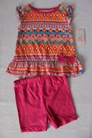 NEW Baby Girls 2 Piece Set Size 18 Months Top Shirt Shorts Outfit Tunic Pink