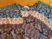 NWT Altar'd State Blue Navy & Peach Sheer Open Front Cardigan Size L $59 B21