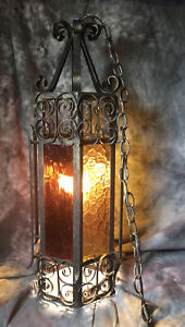 """Vintage Light Hanging Cathedral Church glass 26"""" tall antiqued Brass Look -Works"""