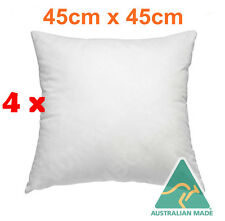 4 xAust Made Cushion Pillow Inserts 45 x 45 cm Hypoallergenic Fibre/White Case