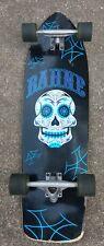 "Vintage Bahne 34-1/2"" Long Skateboard Day of the Dead Skull Deck Pre-owned 65mm"