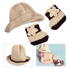 Baby Newborn  Photo Cap Hat Boot Shoe Costume Cowboy Knit Photography Prop