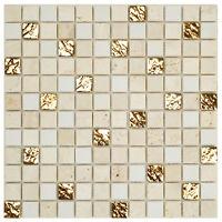 Mosaik Naturstein Marmor Roma Gold Weiß Wand Boden Fliesenspiegel  | ES-86443
