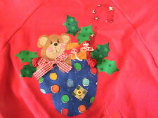TEDDY BEAR MITT WINTER~CHILD SWEATSHIRT Kids size 4 fun novelty *OOAK red 50/50