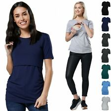 Happy Mama. Women's Maternity Nursing Double Layer T-shirt Crew Neckline. 116p