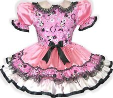 """""""Sophie"""" CUSTOM FIT Lacy Pink Satin Minnie Mouse Adult Baby Sissy Dress LEANNE"""