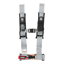 """Pro Armor Seat Belt Safety Harness 4 Point 3"""" Padded RZR Rhino Can Am Silver"""