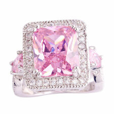 SIZE 10.5 New Lux Cocktail Pink White Topaz lab Sterlin Silver Fill Woman Ring