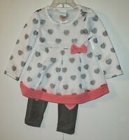 Nanette Baby 2 piece set Infant Girls Long-Sleeved Top & Leggings Sparkly Hearts