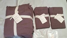 Pottery Barn Belgian Flax Linen Fringe Ruffle Duvet Cover And Shams - Brand New