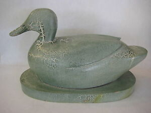 Large Vintage Hand Carved Crackle Painted Sea Green Wooden Duck Decoy (Rare)