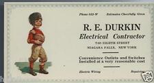 1930s R E Durkin Electrical Niagara Falls Ny Color Litho Ad Blotter / Football