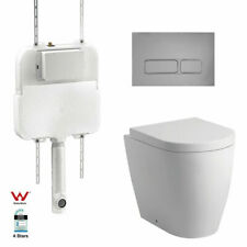 In Wall Concealed Cistern Toilet Rimless floor mount Pan matte chrome buttons