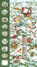 Winter Birds Birdhouse Bird Feeder Holiday Northcott Fabric Wallhanging Panel