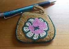 "Handmade Alaska Athabascan beaded coin purse on moosehide - 3"" by 2.5"" - beauty!"