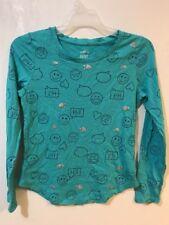 SO Girls Clothing 16 T-Shirt Aqua Blue Texting Emojis Long Sleeve