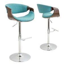 LumiSource Curvo Barstool, Walnut, Teal - BS-CURVOWL-TL